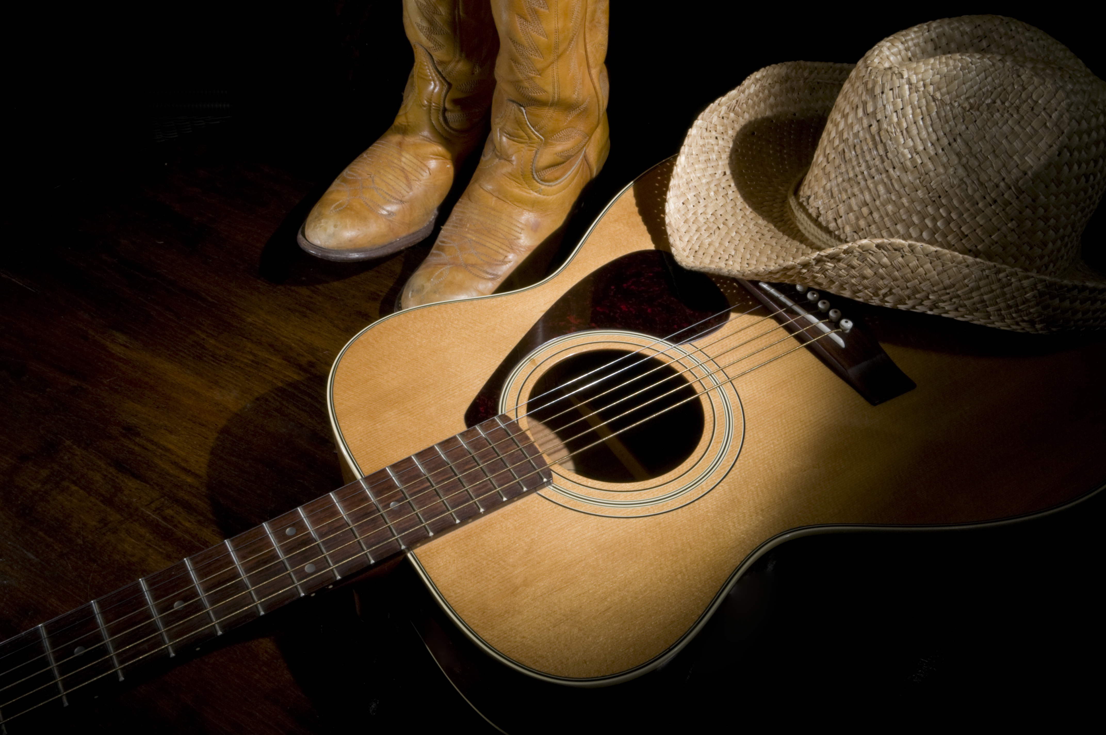 Cowboy hat and boots with guitar in country music setting