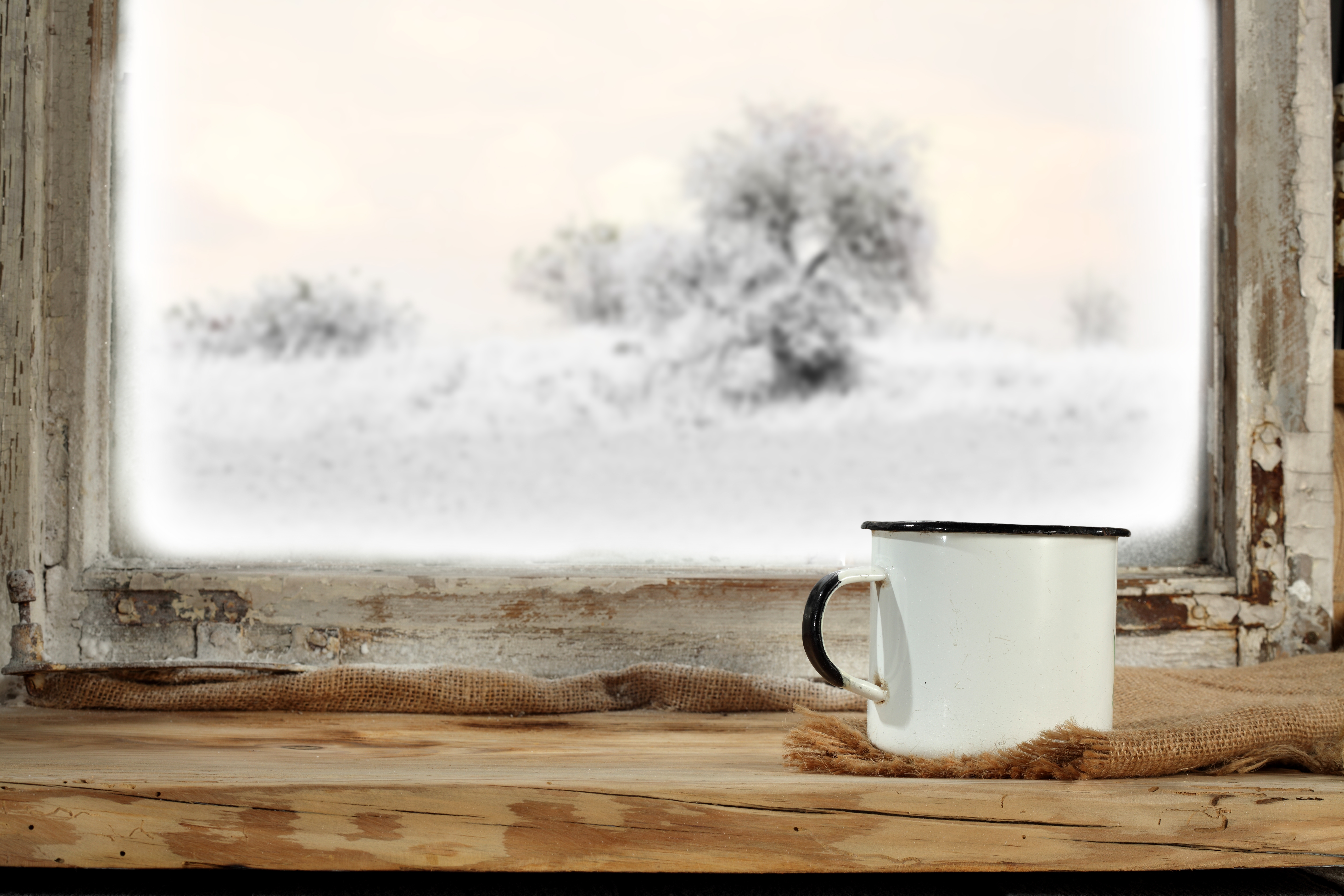Winter outside window with white mug on sill